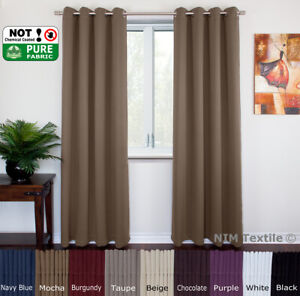NEW Pure Fabric BLACKOUT BLOCKOUT Thermal Insulated EYELET Top Curtains PAIR