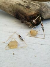 Anthropologie Triangle Natural Stone Earrings **New**