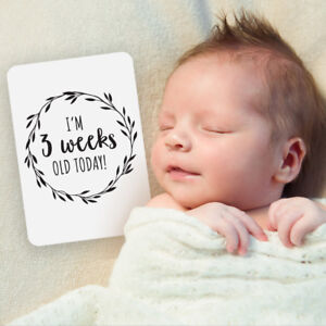 Gender Neutral Printed Milestone Cards Monochrome Wreath Baby (set of 26 cards)