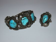 Bracelet and Ring Set Old Pawn Navajo Turquoise