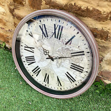 Vintage Outdoor Garden Round Wall Mounted Roman Numerals World Map Clock Large