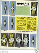 1965 PAPER AD 4 PG Rodania Swiss Made Wrist Watch Men's Ladies' Oceania Aquania