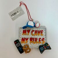 Resin Christmas Ornament Man Cave Holiday Decoration Mens Gift My Cave My Rules