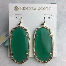 NEW Kendra Scott Oval DANIELLE JADE GREEN Gold Dangle Earrings w Dust Bag $65