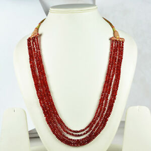 BEAUTIFUL RED RUBY 5 STRANDS FINEST QUALITY FACETED BEADS NECKLACE