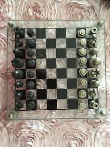 Vintage Glass Chess Set With Metal Bolt and Nuts design  Style Unique