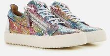 $894 GIUSEPPE ZANOTTI Women's Multicolor Glitter Leather Low Top Sneakers 36