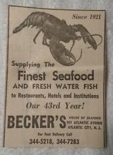 1964 Becker's House of Seafood - Atlantic City New Jersey Advertisement