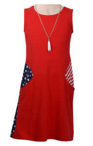 Bonnie Jean Big Girls 7-16 4th of July Patriotic Red White Blue Dress & Necklace
