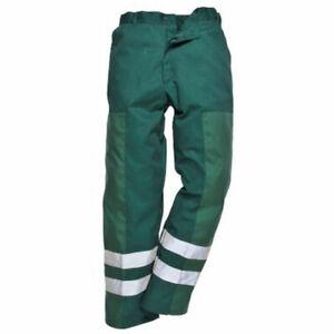 Portwest Ballistic Trousers Half Elastic Waist HI VIS Abrasion Resistant S918