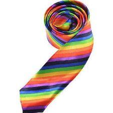 Retro Colourful Rainbow Gay Pride Skinny Tie Mardi Gras Fancy Dress