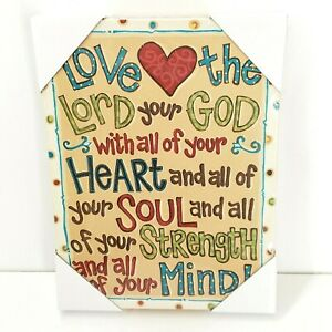 "Love The Lord Your God Text On Canvas Table Top Wall Art Glory Haus 9""x12"""