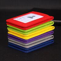 PU Leather Credit Card ID Badge Holder Bus Passes Case Neck Strap Lanyard 5 slot