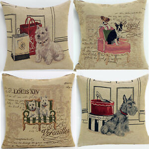 UK 4 PCS Luxury Retro Vintage Dogs Cotton Silk Throw Pillow Case Cushion Cover