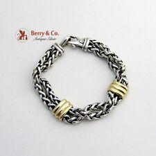 David Yurman Designer Wheat Chain Bracelet Sterling Silver 18K Yellow Gold