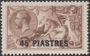 British Levant 1921 KGV Seahorse 45pi on 2sh6d Olive-Brown Mint SG48b cat £55