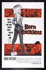 BORN RECKLESS * ORIGINAL MOVIE POSTER MAMIE VAN DOREN COWGIRL WESTERN RODEO 1959