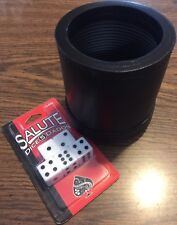 GENUINE LEATHER DICE CUP BOX PROFESSIONAL QUALITY NEW RIBBED Inc. 5 Salute Dice