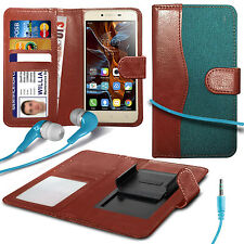 For Apple iPhone 3GS - Fabric Mix Clip Wallet Case & Earphone