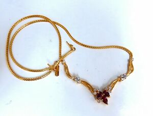 1.90ct Natural Ruby Diamonds Lariat Necklace 14kt