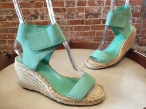 Vince Camuto Spearmint Aqua Leather Levista Ankle Strap Wedge Sandals 10W New
