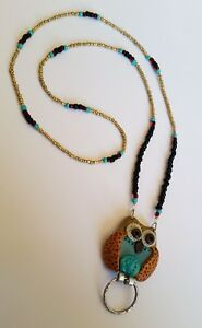 Owl ID Badge Holder HANDMADE Polymer Clay Sculpted Fashion Necklace Lanyard