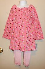 Flapdoodles Girls Smocked Bodice Polka Dot Dress + Legging Set Carmine Rose 5