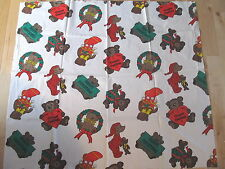 VINTAGE COTTON CHRISTMAS FABRIC TEDDY BEARS GOOD FOR APPLIQUE SEWING
