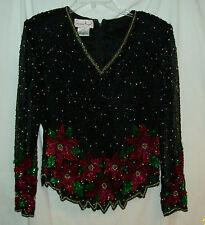 Laurence Kazar Black Beaded Sequin LS Christmas Poinsettia  Holiday Blouse Sz M