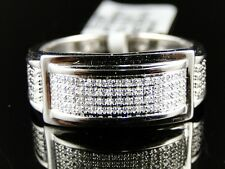 MENS .925 WHITE GOLD FINISH GENUINE WHITE DIAMOND PAVE SETTING RING .30 CT