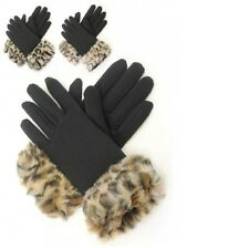 LADIES GLOVES IN THERMAL FLEECE WITH FAUX FUR CUFF.