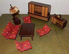 Wohnzimmer Möbel Puppenstube Puppenhaus Holz Handarbeit Erzgebirge DDR 1950/60
