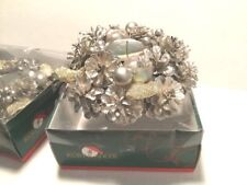 2 Kurt Adler Christmas Candle Ring Silver Surround Decoration Pinecones New