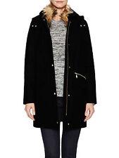 NEW COLE HAAN Black Wool Faur Fur Hooded Hoodie JACKET COAT NWT 12 $400 GORGEOUS