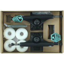 Industrial Black Trucks with 52mm White Wheels, Bearings & Hardware Kit