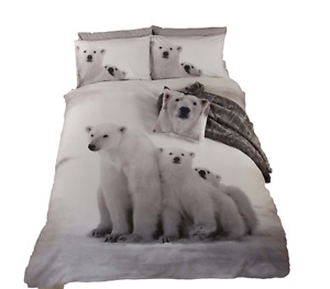 Bedding Heaven® POLAR BEAR Quirky Photographic Print DUVET COVER. Double Bed.