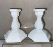 Vtg PAIR Miniature Child's Tea Set Extras Milk Glass Candlesticks Doll House