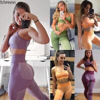Seamless 2pcs Yoga Set Yoga Suit Crop Top&Leggings Bra Pants Sports Gym Outfit
