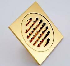 Square Bath  Gold Plated Brass Deodorant Shower Floor Drain Waste Grate Drainer