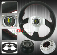 92-96 Prelude Accord Pvc Leather Wrapped Steering Wheel + Quick Release +Hub Kit