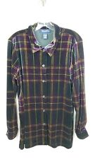 Denim & Co. Womens Size M Plaid Velvet Button Front Shirt Long Sleeve