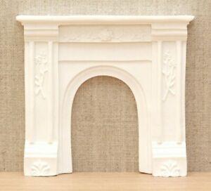 1:12 Dolls House Victorian fire surround - white