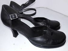 Reaction Black Leather Pumps Ankel Strap Closed Toe Heel Womens size 8.5