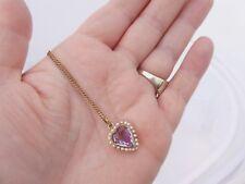 9ct Oro Tallado Corazón Amatista & Semilla Perla Colgante Victoriano en 9ct cadena, 375