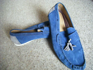 Mens blue suede loafers shoes size 45 / 10.5 Used Burtons