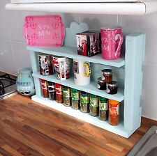 Hand made shabby chic wooden spice herb rack shelves can hold 66 Schwartz jars!!