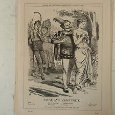 """7x10 """"Punch Cartoon 1862 Fausto & Marguerite Victor Emmanuel / Napoleón / Italia"""