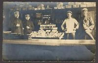 WW1 ARMY PERSONNEL GROCERY DEPOT MILITARY ANTIQUE PHOTO RPPC POSTCARD