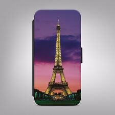 Eiffel Tower Night Paris France LEATHER FLIP PHONE CASE COVER IPHONE SAMSUNG