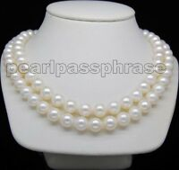 """14K Yellow Gold Clasp Double Strand 8-9mm AAA+ White Pearl Necklace 17""""&18"""""""
